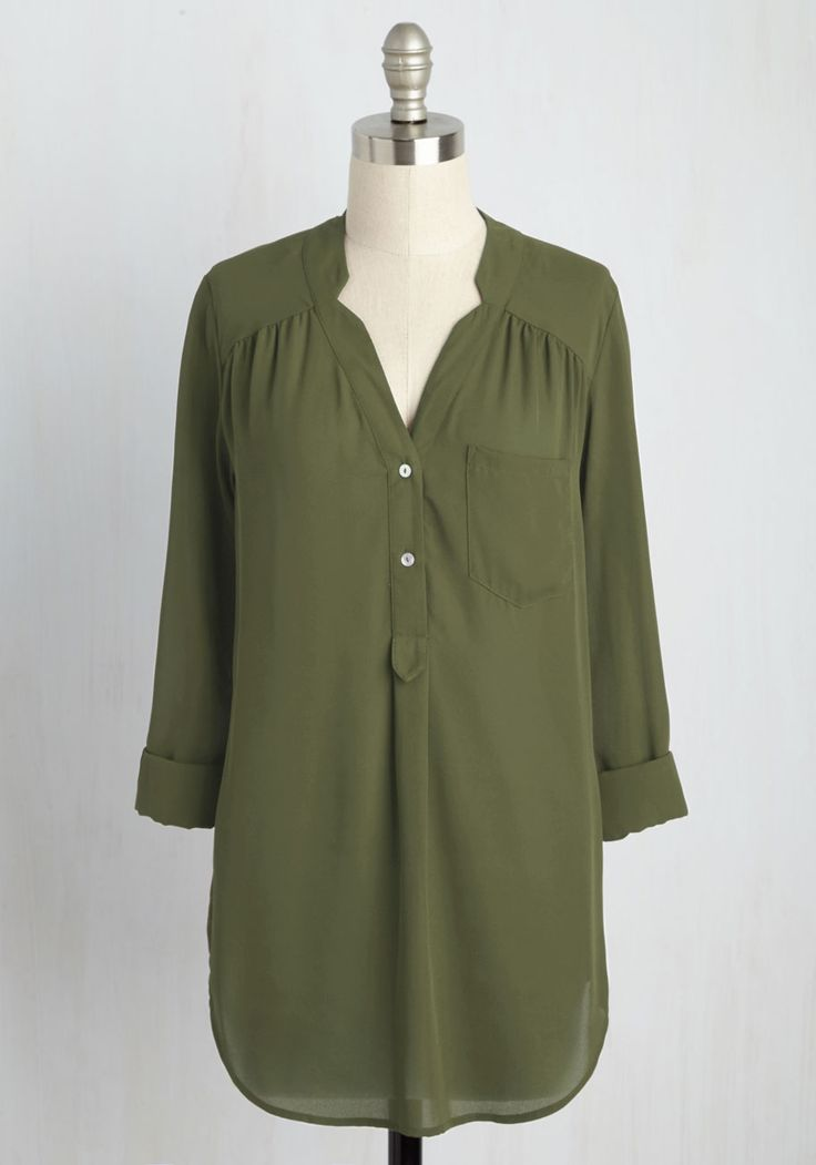 Pam Breeze-ly Tunic in Olive. When you want a work wardrobe thats subtle, stylish, and a bit romantic, make this olive green blouse your business! #green #modcloth