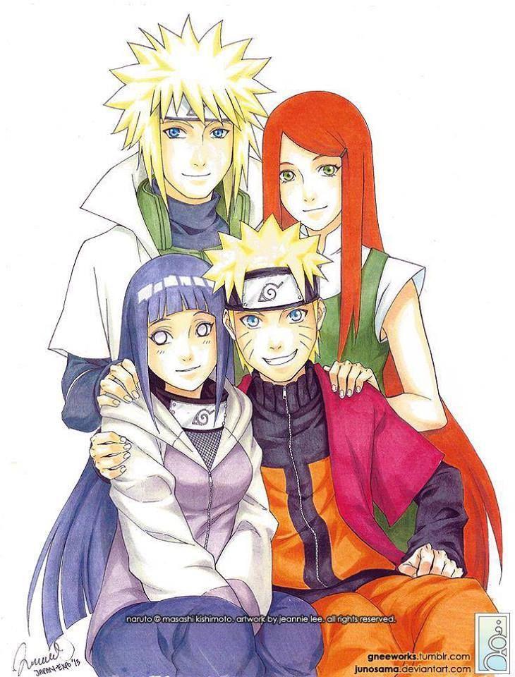 Minato, Kushina, Hinata, and Naruto