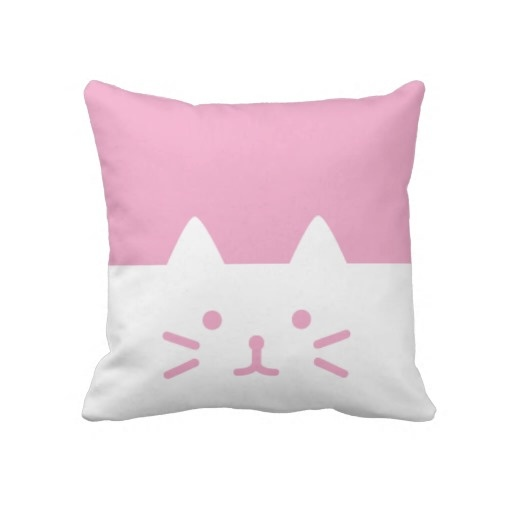 pink cat pillows