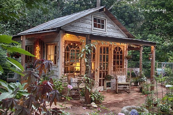 Jenny's she shed made with reclaimed building materials | Living Vintage #shedplans