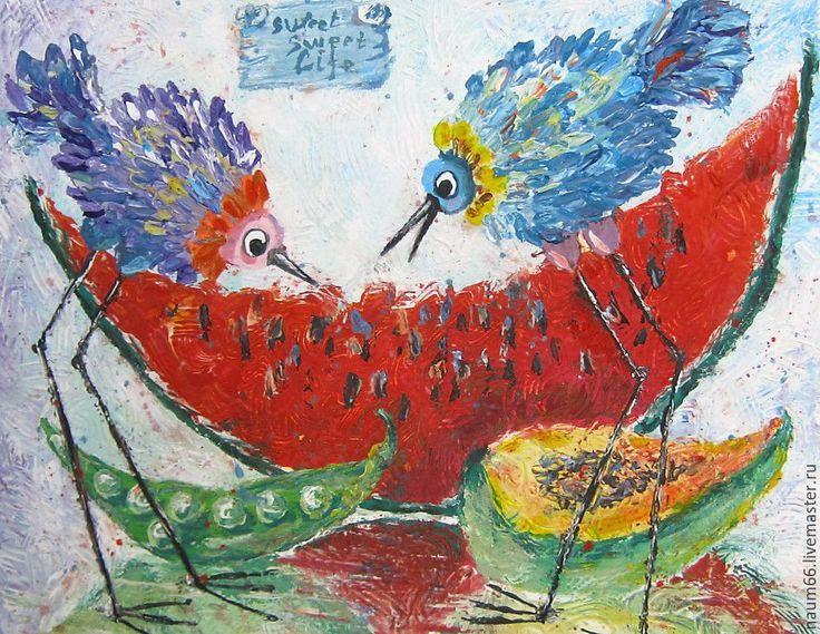 Купить Очень везучие птицы!. Картина акрилом - комбинированный, картина в подарок, картина, картина для интерьера