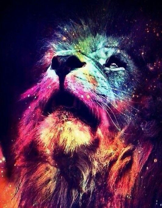 Colorful lion painting - photo#12