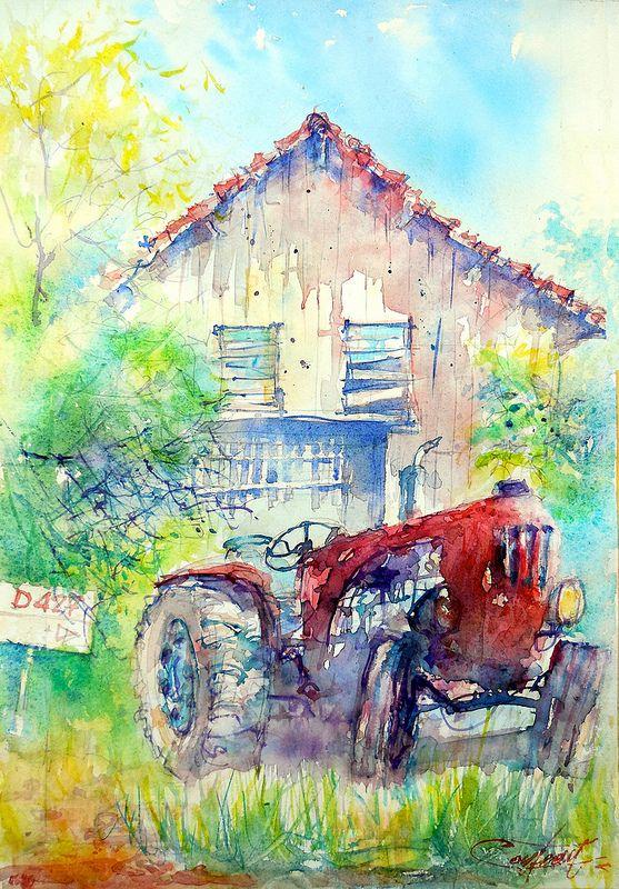 Vieux tracteur rouge à Monheurt   Flickr - Photo Sharing!