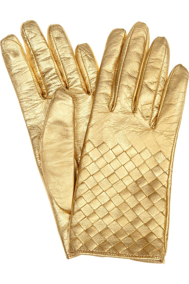 Gold driving gloves - Gold Intrecciato Leather Lamb Notched Opening At Back Leather Dry Clean