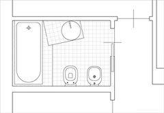 Disegno in pianta del piccolo bagno