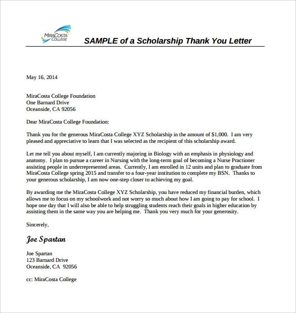 Scholarship Thank You Letter Samples Beautiful 13 Sample
