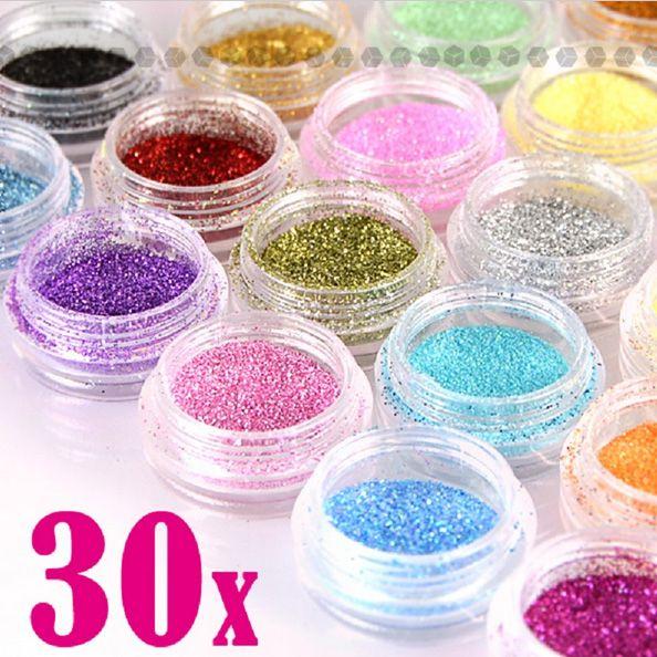 30 Stücke Verschiedene Farben Nail art Feinem Glitter Pulver Staub UV Gel Polish Acryl Nagelspitzen Werkzeuge