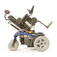 Hippo fron wheel drive wheelchair shown in tilt in space postion. www.wheelchairs.co.za