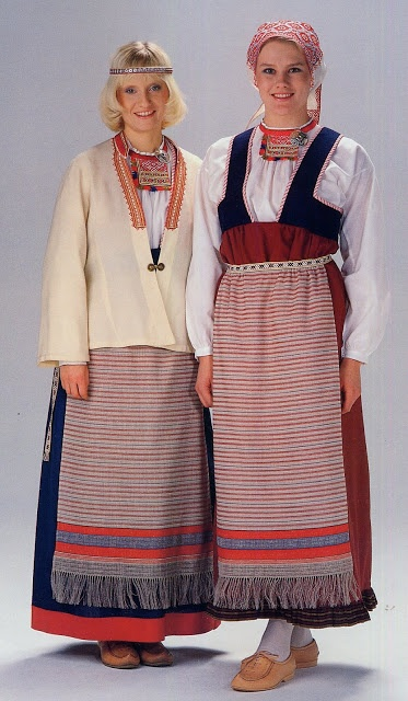 Folk costumes of Sakkola-Rautu, Karelia. At the junction of Finland, Russia, and Sweden.