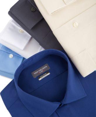 Van Heusen Men's Classic-Fit Wrinkle Free Flex Collar Stretch Solid Dress Shirt - Purple 17.5 36/37