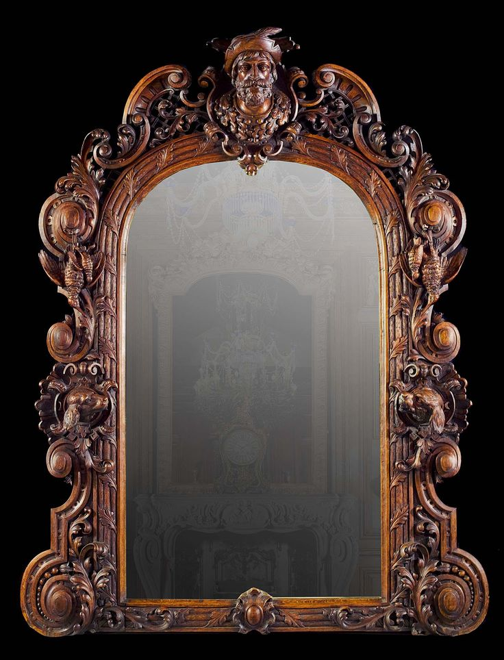 Large Antique Italian carved oak mirror for a Hunting Lodge, in Baroque Rococo manner.