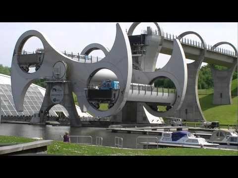 Falkirk Wheel, Central Scotland - YouTube - amazing piece of engineering. it takes 5.5 minutes and as much power as boiling 8 kettles.