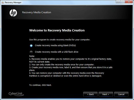 Creating Recovery Discs or Saving a Recovery Image to a USB Flash Drive (Windows 7) HP G72-c55DX Notebook PC | HP® Support