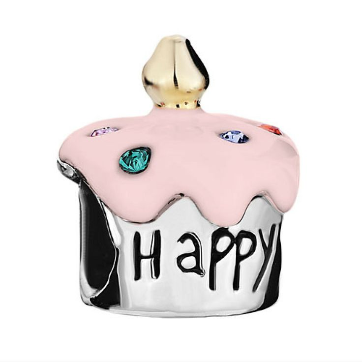 """Birthday Cake With """"Happy B Day"""" Colorful Crystal And Pink Drip Gum Two Tone European Beads Pandora Chamilia Compatible 