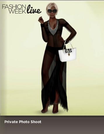Model is wearing:  -- Fringe Robe  -- V Bib Necklace  -- Wide Sunglasses  -- Zebra Accent Bag