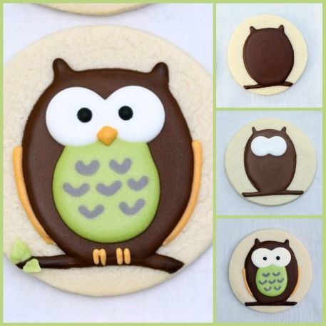 How to Make Decorated Owl Cookies | Sweetopia ::  2-3 days {6-8 hrs btwn steps 1&2 and again btwn steps 2&3. For the Cookies, you'll need: *Sugar Cookie Dough (see linked recipe) *Royal Icing  (see linked recipe) *Round Cookie Cutters *Food Gel Coloring *Piping Tips (Size #2) *Piping Bags *Couplers *Optional – Kopykake Projector