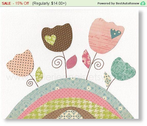 Decoración de dormitorio de bebé - vivero pared cuarto de arte - Arte de la pared de los cabritos - flores - decoración de la habitación de los niños marrones y rosa azul - tulipanes - Les Tulipes