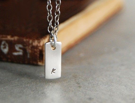 Itsy Bitsy Teeny Weeny  Modern Initial Tag Necklace  by SoulPeaces, $29.00