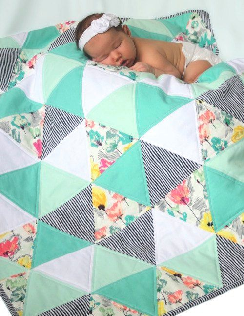 Summer Fields - ready to ship - triangle quilt - baby quilt - mint, turquoise, coral, and white