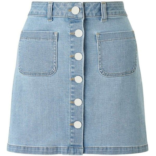 Miss Selfridge Bleach Denim Skirt ($49) ❤ liked on Polyvore featuring skirts, pale blue, miss selfridge and blue skirt