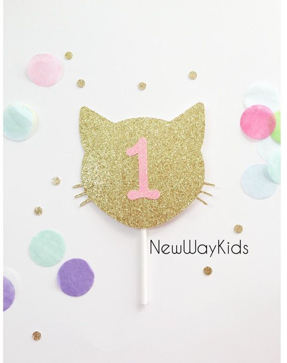 Kitty Cat Cake Topper, second birthday, first birthday, baby, one, two, birthday, birthday banner, cake smash, meow, smash cake, prop