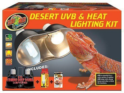 Zoo Med Desert Uvb & Heat Lighting Kit  Zoo Med Desert UVB & Heat Lighting Kit Desert UVB & Heat Lighting Kit Includes: Mini Combo Deep Dome with Dual ceramic sockets for usage with lights as much as 160 watts per socket. Double on/off switches for higher benefit. Repti Basking Spot Lamp Bulb 75 watts. The Repti Basking Spot Lamps have a special trademarked double reflector that focuses 35% more heat and light into a tight beam. Ideal for usage with diurnal reptiles that thermo-regulate by…