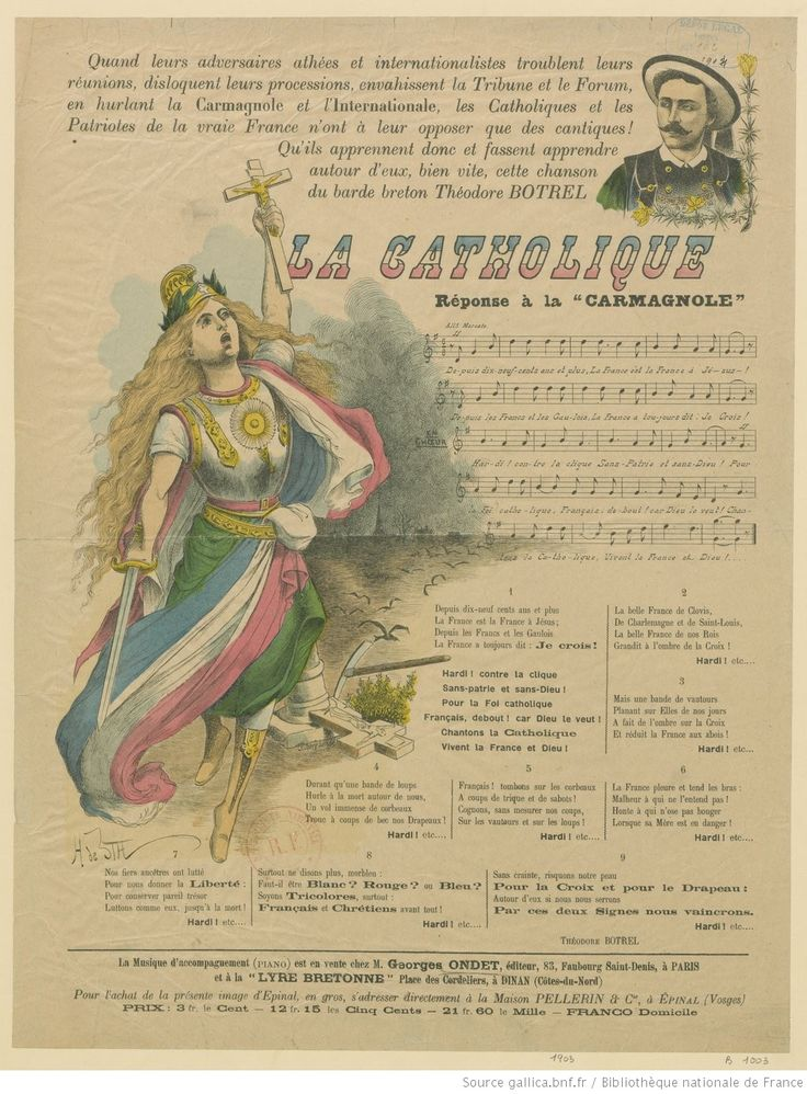 La Catholique : réponse à la Carmagnole : [estampe] / [texte de] Théodore Botrel ; [illustration de] H. de Sta