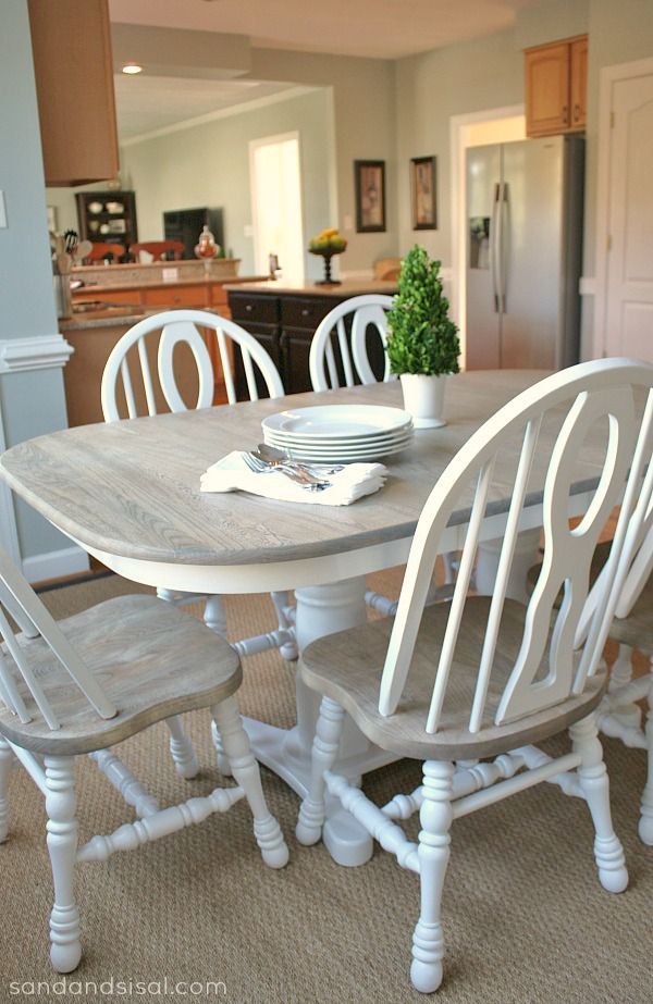 This is exactly what I want my table to look like. How to Refinish a Table- Driftwood Finish
