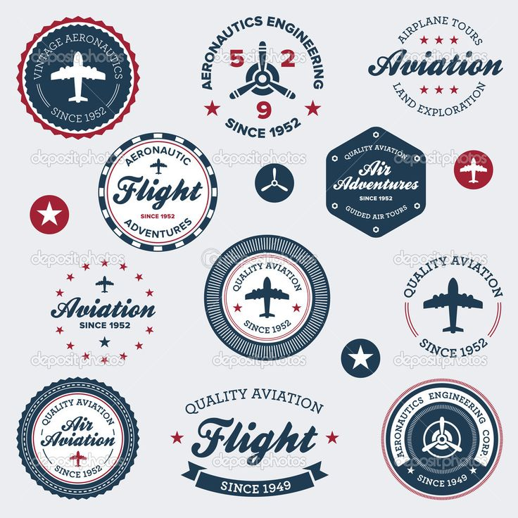 Set of vintage retro aeronautics flight badges and labels #design #vector #eps Download: http://depositphotos.com/8500162/stock-illustration-vintage-aeronautics-labels.html?ref=5747528