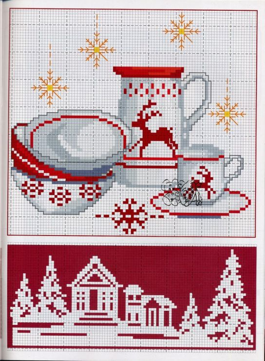 Miniature holiday theme cross stitch pattern, but may also be used for: crochet, knitting motifs, knotting, loom beading, Perler beading, weaving and tapestry design, pixel art, micro macrame, friendship bracelets, and anything involving the use of a charted pattern.