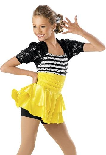 """Black and White Striped Sequined Bodice with Black Sequined Shrug and Yellow Two-Tiered Skirt - """"Time to Dance"""""""