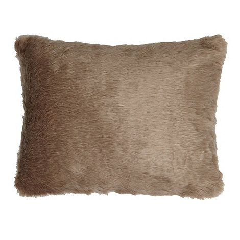 Debenhams Natural faux fur cushion- at Debenhams.com