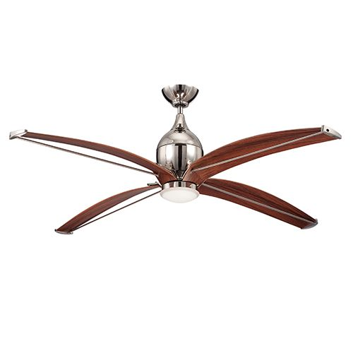Tyrod Polished Nickel 60 Inch Ceiling Fan With LED Light Kit Ellington By Craftmade Stem M