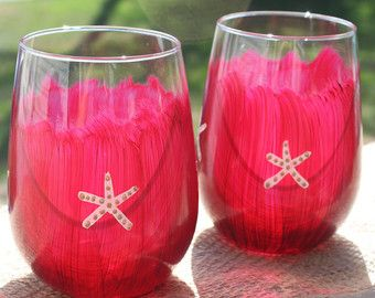 Arándano rojo Stemless copas de vino con estrella de mar, par de dos.