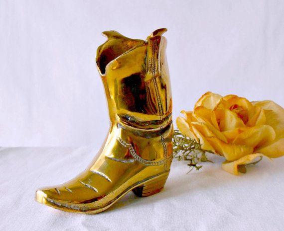 #TexasCowboy Vintage Solid Brass Cowboy Boot Paperweight Desk by GSaleHunter