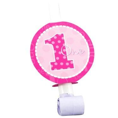 Hooray, it's your little girls first birthday! Make some noise and celebrate the occasion with these Everything One Girl Blowouts. This adorable pink polka dotted blowout makes a great party favor to send your guests home with reminding them of all the fun they had.