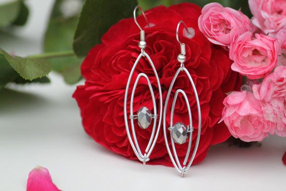 Silver coloured aluminium wire wrapped earrings by DeaJewelryStore