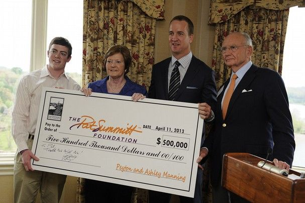 Denver Broncos quarterback and former Vol Peyton Manning, second from right, presents a check from himself and his wife Ashley Manning for $500,000 to UT coach emeritus Pat Summitt and her son Tyler Summitt, left, along with Jim Haslam, for The Pat Summitt Foundation at the Cherokee Country Club, Thursday, April 11, 2013. The foundation was formed to help in the research and fight against alzheimer's disease. (AMY SMOTHERMAN BURGESS/NEWS SENTINEL)