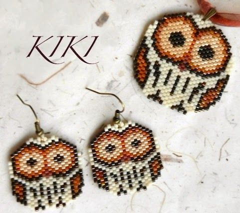 Owl beadwork earrings and pendant - links to free pattern for peyote or brick stitch