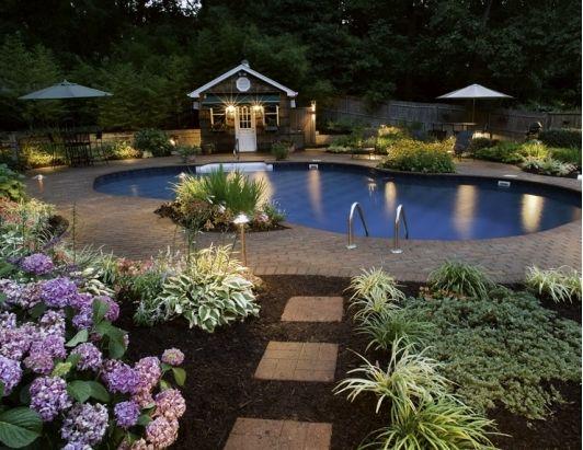 Outdoor Garden Landscape Lighting Ideas With Beautiful Pool