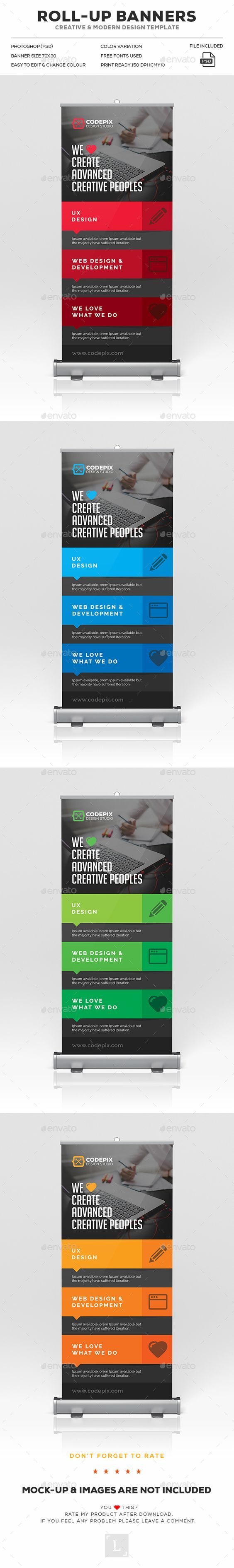 RollUp Banner — Photoshop PSD #advertisement #camera • Available here → https://graphicriver.net/item/rollup-banner/18046555?ref=pxcr: