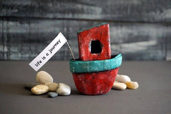 Paper Mache Boat, Paper Sculpture, Miniature Art, Fridge Magnet, Personalized Magnets, Art Object, Boating Gifts