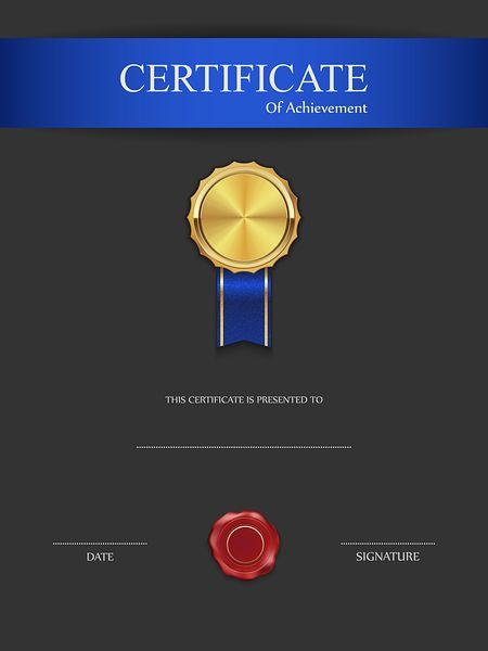 Blue and Black Certificate Template PNG Image