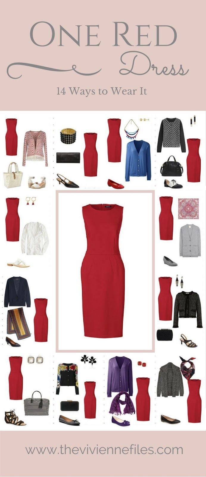 One Red Dress In A Capsule Wardrobe: Fourteen Ways To Wear