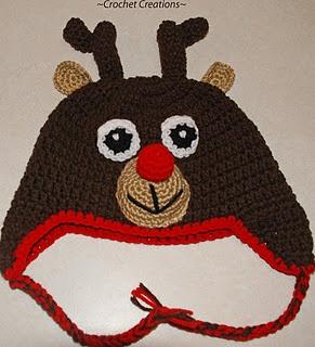 Free Reindeer earflap crochet hat pattern