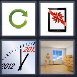 4 Fotos 1 Palabra Tablet con Moño de Regalo Rojo, Reloj año 2013 2012, Flecha Verde, Habitación Vacía con escalera. Salon vacío. Habitación vacía. Bucle - Solución 5 Letras