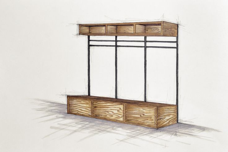 Handcrafted bespoke wooden coatrack with metal construction. Modern, rustic, simple furniture.