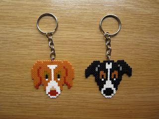 Dogs keyrings  hama mini beads by Regalitos curiosos
