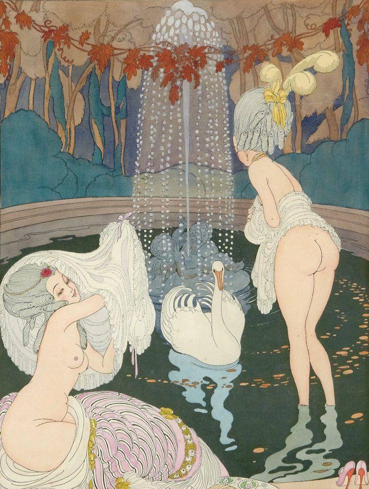 Gerda Wegener (Danish illustrator and painter) 1886 - 1940 aka Gerda Gottlieb Wegener Porta, Frederikke Gerda Maria Wegener Rokokokvinnor med Svanar (Rococo Women with Swans), 1913