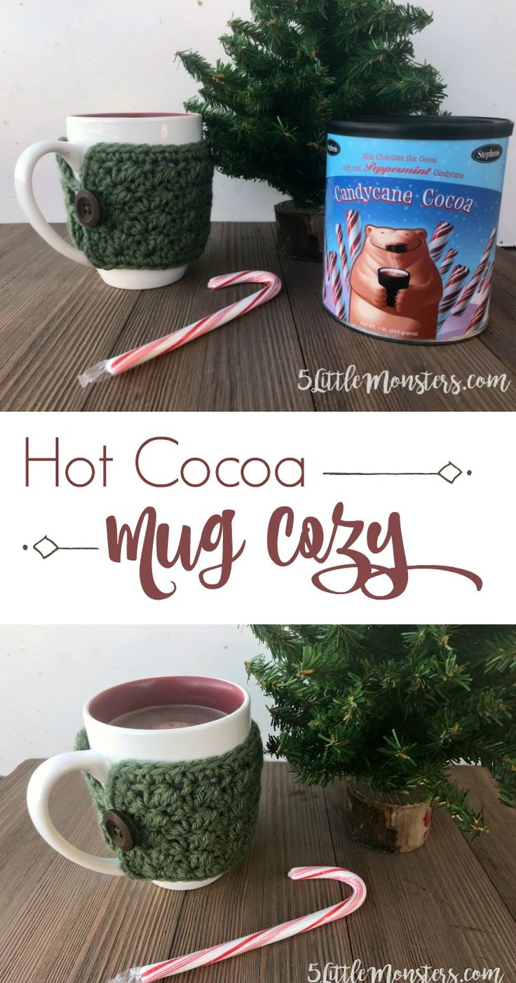 Crocheted mug cozy perfect for a warm cup of hot cocoa #stephensgourmet
